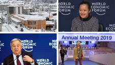 Pictured clockwise from top left: The Congress Centre; plastics campaigner Melati Wijsen; activist Greta Thunberg and UN Secretary-General Antonio Guterres. Images: WEF